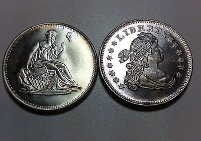 Lot Of 2 Ounces Silver Seated Liberty Dollar & Bust Dollar Design .999 Silver
