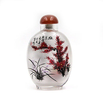CHINESE INSIDE HAND PAINTED Plum Blossom Orchid Bamboo Chrysanthemum SNUFF BOTTL