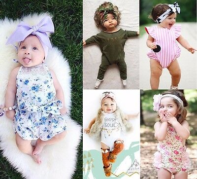 Kids Baby Girls Babygrow Clothes Vests Bodysuit Romper Jumpsuit Outfits