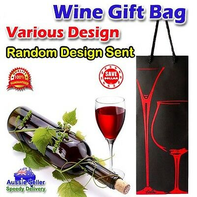 24pc Elegant Design Wine Champagne Gift Bottle Bag Rope Handle Paper Bulk