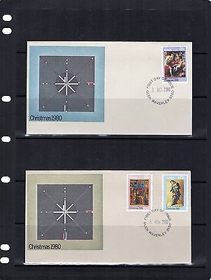 1980 Christmas Issue Set Of 2 First Day Covers, Mint Condition