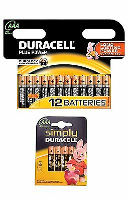 AAA Duracell Batteries Triple A Battery Multi Pack of 12 or Pack of 4 Plus Power