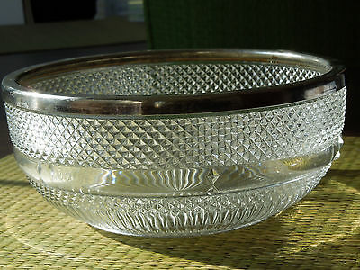 Glass bowl with silver plated rim