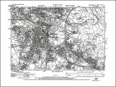 Stoke on Trent, Fenton, old map Staffs 1925: 18NW repro