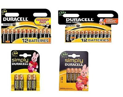 AA / AAA Battery Duracell Batteries / Pack of 12 / Pack of 4 / Simply Duracell
