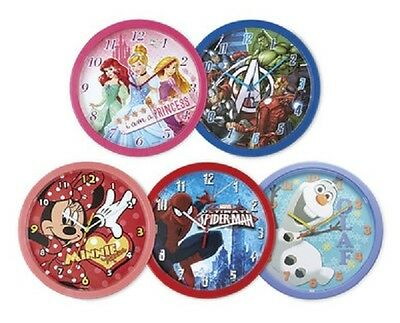 Childrens Wall Clocks Disney Princess Frozen  Minnie Mouse  Marvel Spiderman
