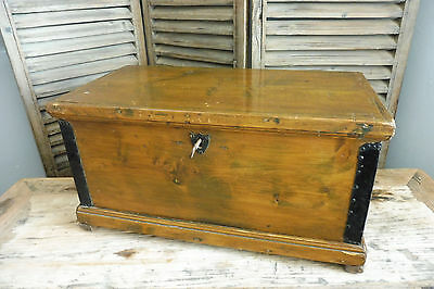 Antique wooden Trunk Biedermeier Chest