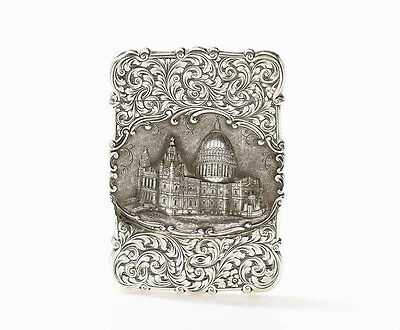 Rare NM Solid Silver Castle Topped Card Case ST. PAUL'S CATHEDRAL  c.1851