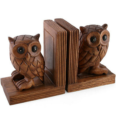 A pair of Owl Bookends ACACIA WOOD animal figures hand carved 17cm
