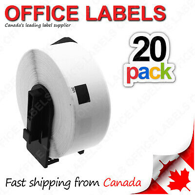 "20 Rolls of DK-1201 Compatible Labels for BROTHER® QL Printer 1-1/7"" x 3-1/2"""