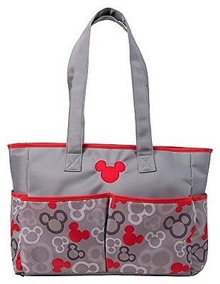 Disney Mickey Mouse Nappy Bag, Grey/Red, Large. Delivery is Free