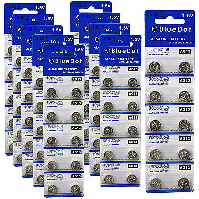 Lot of 100 ~ New BlueDot Alkaline Coin Battery ~ AG13 / A76 / LR1154 / SR44