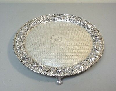 """VINTAGE KIRK """"REPOUSSE"""" STERLING SILVER FOOTED SALVER / TRAY, #1712, 26.09 oz. T"""
