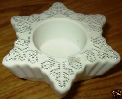 partylite snowflake tealight holder with silver dots