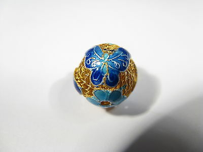 Beautiful 925 Sterling Silver Filigree Gold Wash Blue Enamel Butterfly Bead
