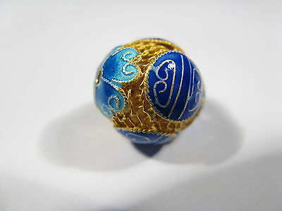 Beautiful 925 Sterling Silver Filigree Gold Wash Blue Enamel Longevity Bead