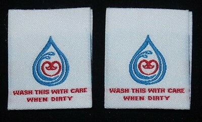 100pcs funky high quality woven clothing washing care labels - Mel. fast service