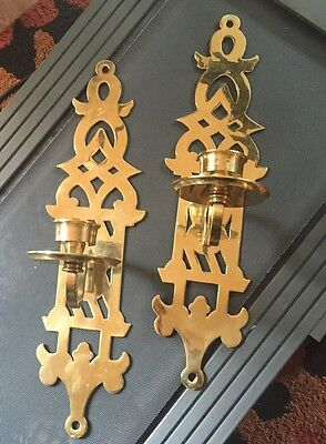 "2 Vtg  24"" Tall Solid Brass Wall Sconce Candle Holders Decorative Crafts Brand"
