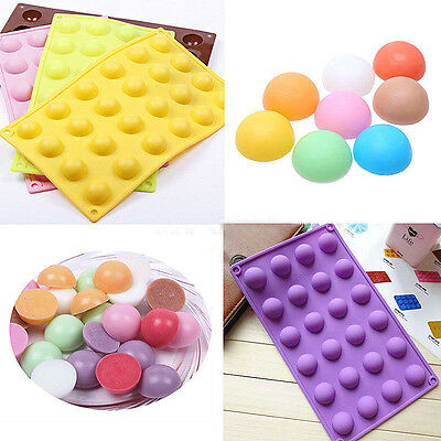 24 Cavity Half Ball Sphere Silicone Chocolate Molds Ice Cube Tray Cookies Mould
