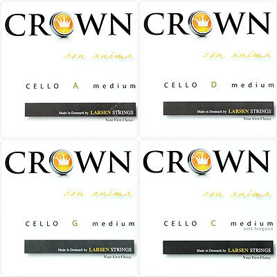 Larsen Crown Cello String Set (A, D, G, C) Medium Tension 4/4 Size