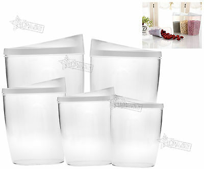 New 5 Pieces Plastic Food Containers Cereals Pasta Rice Beans Storage Boxes