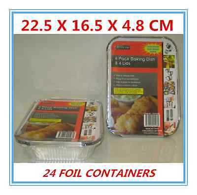 24 X Rec Foil Roasters With Lid - Party, Kitchen, Restaurant, Wedding, Event