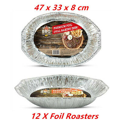 12 X Oval Foil Roasters/containers - Party, Kitchen, Restaurant, Wedding, Event