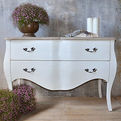 French White Chest Of Drawers Cupboard Sideboard 2Drawer Wood Vintage Retro Chic