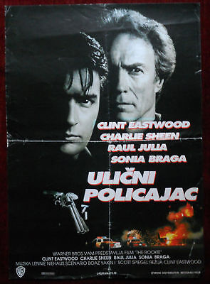 1990 The ROOKIE Original Movie Poster Clint Eastwood Charie Sheen Raul Julia