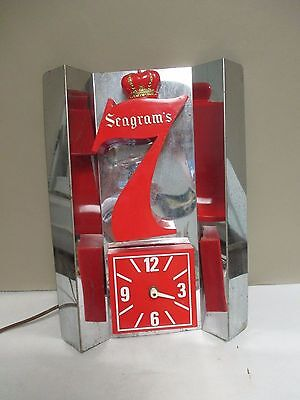 Vintage Seagram's 7 Bar Electric Light & Clock-Liquor Advertising Cocktails