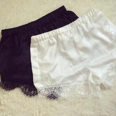 Soft Silk satin lace elastic waist shorts Women Girls casual shorts