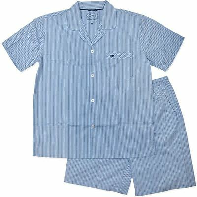 New Mens Blue Stripe Coast & Co Woven Cotton Short Pyjamas Sleepwear Size S-4XL