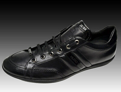 NEW HUGO BOSS Black Logo Leather Shoes Casual Fashion Sneakers Chaussures 9.5