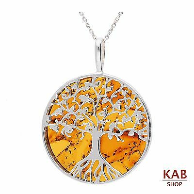 COGNAC BALTIC AMBER STERLING SILVER 925 JEWELLERY PENDANT with chain. KAB-274 .2