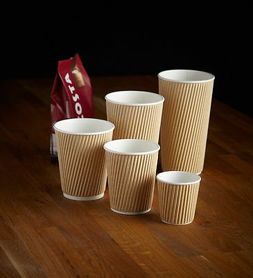 12oz Kraft Ripple Cups Disposable Hot Drinks Insulated Coffee Black Brown White