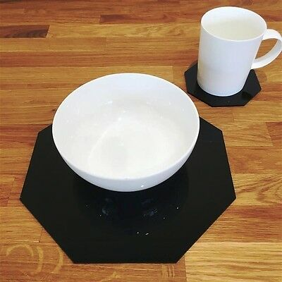 Black Octagonal Placemat and Coaster Set