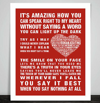 Ronan Keating When You Say Nothing At All Music Song Lyric Print Poster Art Gift