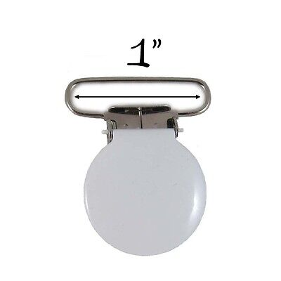 100 White Enamel Round Face 2.5cm Suspender Clips w/ Rectangle Inserts. Shipping