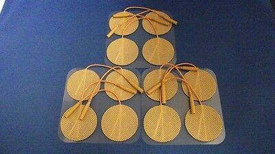 12 Replacement Electrode Pads for Massagers /Tens Units 2 inch Round Tan Cloth
