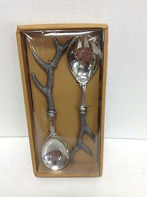 2 Pottery Barn Serving Spoon Fork Set Antlers Thanksgiving Deer Buck Stag Hunter