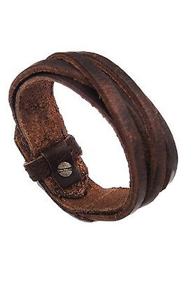 Men Women Unisex Multi thong braided thin Leather Bracelet wristband Brown SP