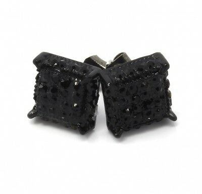 Mens Black Cz Cube Iced Out Hip Hop Micro Pave Kite Stud Earrings Bling. Free De