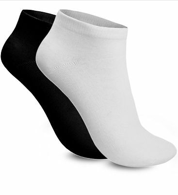 Mens Plain Trainer 85 % Cotton Ankle Socks Womens Cotton Black White 6-11 11-14