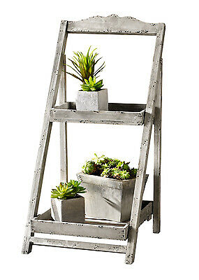 Foldable Wooden Plant Stand for Outdoor or Greenhouse, Two Shelves