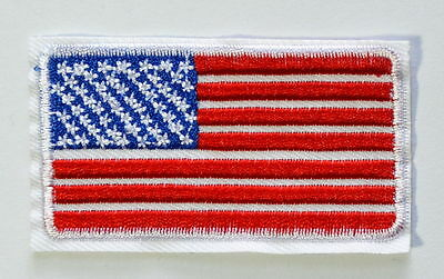 30 AMERICAN FLAG w/WHITE BORDER-Iron On Embroidered Applique Patch/Patriotic USA