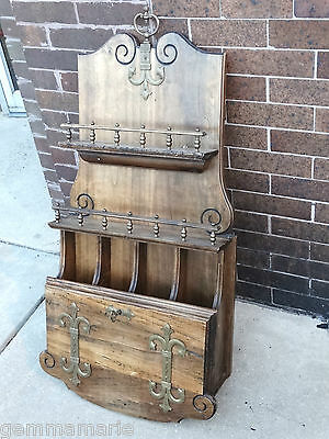 William & Mary Arts & Crafts secretary document letter wall desk & key