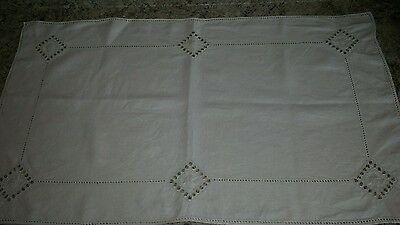 """Vintage Linen Runner-Topper-Cloth Drawn Thread Embroidery 20X34"""""""