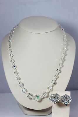 Beautiful Vintage Aurora Borealis Faceted Glass Necklace & Earrings - 331