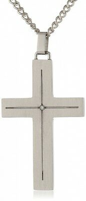 Men's Stainless Steel Cross with Diamond Accent and Curb Chain Pendant Necklace,