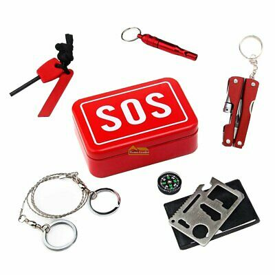 Outdoor Camping Hiking Survival Emergency Kit Self-help Box SOS Equipment New